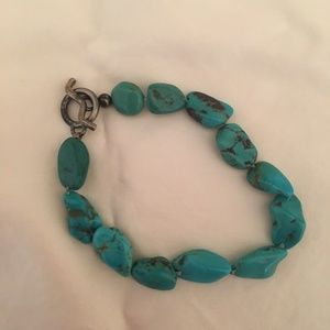 Jewelry - Turquoise and Silver Bracelet - 9""